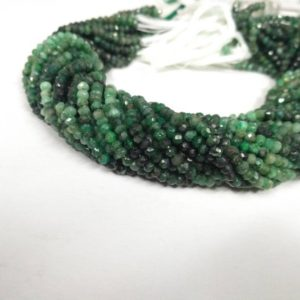 Shop Emerald Faceted Beads! Lot of 5 Strands Natural Emerald Shaded Faceted Rondelle 3.5-4MM Beads 13 inches | Emerald Beads | shaded Emerald | emerald gemstones beads | Natural genuine faceted Emerald beads for beading and jewelry making.  #jewelry #beads #beadedjewelry #diyjewelry #jewelrymaking #beadstore #beading #affiliate #ad