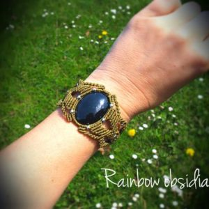 Macrame Bracelet, Rainbow obsidian, Macrame arm band jewelry-Boho chic-Tribal bijoux-Bracelet for women-Black obsidian | Natural genuine Rainbow Obsidian bracelets. Buy crystal jewelry, handmade handcrafted artisan jewelry for women.  Unique handmade gift ideas. #jewelry #beadedbracelets #beadedjewelry #gift #shopping #handmadejewelry #fashion #style #product #bracelets #affiliate #ad