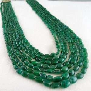 Shop Emerald Bead Shapes! Antique Natural EMERALD Beads Long Cabochon 7 STRING 471 Carats Gemstone NECKLACE | Natural genuine other-shape Emerald beads for beading and jewelry making.  #jewelry #beads #beadedjewelry #diyjewelry #jewelrymaking #beadstore #beading #affiliate #ad