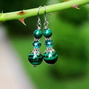Shop Malachite Earrings! Malachite Earrings, Genuine Malachite Jewelry, Green Bead Earrings, Emerald Green Earrings, Green Stone Earrings, Natural Malachite Beads | Natural genuine Malachite earrings. Buy crystal jewelry, handmade handcrafted artisan jewelry for women.  Unique handmade gift ideas. #jewelry #beadedearrings #beadedjewelry #gift #shopping #handmadejewelry #fashion #style #product #earrings #affiliate #ad