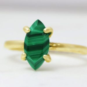 Shop Malachite Rings! Gold malachite ring,marquise ring,green gemstone ring,energy ring,natural stone ring,stackable ring for woman | Natural genuine Malachite rings, simple unique handcrafted gemstone rings. #rings #jewelry #shopping #gift #handmade #fashion #style #affiliate #ad