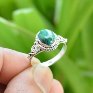 Shop Malachite Rings! Green Malachite Ring, 925 Silver Rings, 7×9 mm Oval Malachite Ring, Gemstone Jewelry, Oxidized Ring, Malachite Gemstone Ring, Gemstone Rings | Natural genuine Malachite rings, simple unique handcrafted gemstone rings. #rings #jewelry #shopping #gift #handmade #fashion #style #affiliate #ad