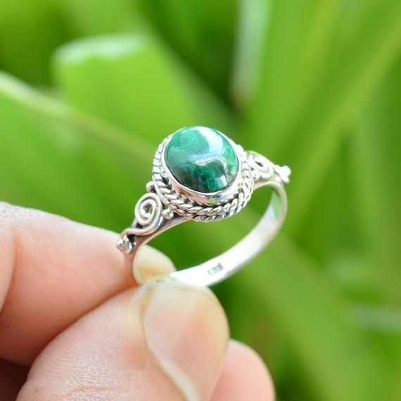 Green Malachite Ring | 925 Sterling Silver Rings | 7x9 Mm Oval Malachite Ring | Handmade Silver Ring | Gemstone Jewelry | Gemstone Rings