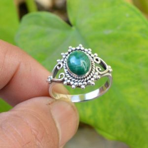Green Malachite Ring, Oxidized Silver Ring, 925 Sterling Silver Rings, 7×9 mm Oval Malachite Ring, Gemstone Ring, Women Ring, Malachite Ring | Natural genuine Array jewelry. Buy crystal jewelry, handmade handcrafted artisan jewelry for women.  Unique handmade gift ideas. #jewelry #beadedjewelry #beadedjewelry #gift #shopping #handmadejewelry #fashion #style #product #jewelry #affiliate #ad