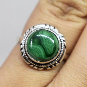 Shop Malachite Rings! Handmade Jewelry,Natural Green Malachite Ring,Solid 925 Sterling Silver Ring,Malachite Ring,Green Stone Ring,September birthstone,Boho ring | Natural genuine Malachite rings, simple unique handcrafted gemstone rings. #rings #jewelry #shopping #gift #handmade #fashion #style #affiliate #ad