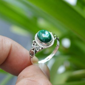 Natural Malachite Ring | Malachite Ring Men | 7×9 mm Oval Malachite Ring | Malachite Ring Silver | 925 Sterling Silver Ring | Promise Ring | Natural genuine Array jewelry. Buy crystal jewelry, handmade handcrafted artisan jewelry for women.  Unique handmade gift ideas. #jewelry #beadedjewelry #beadedjewelry #gift #shopping #handmadejewelry #fashion #style #product #jewelry #affiliate #ad