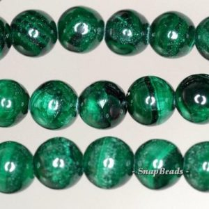 Shop Malachite Round Beads! 6mm Hedge Maze Malachite Gemstone Dark Green Round 6mm Loose Beads 15.5 inch Full Strand (90147842-141) | Natural genuine round Malachite beads for beading and jewelry making.  #jewelry #beads #beadedjewelry #diyjewelry #jewelrymaking #beadstore #beading #affiliate #ad