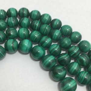 Shop Malachite Round Beads! Natural Malachite AAA Quality Smooth Round Beads with Clasp, 5mm to 9mm, 18 inches, Green Beads, Gemstone Beads, Semiprecious Stone Beads | Natural genuine round Malachite beads for beading and jewelry making.  #jewelry #beads #beadedjewelry #diyjewelry #jewelrymaking #beadstore #beading #affiliate #ad