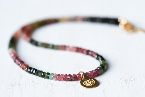 Mixed Tourmaline Beaded Necklace   Watermelon Tourmaline Necklace   Multi Color Tourmaline Jewelry   Tourmaline Necklace With Lotus