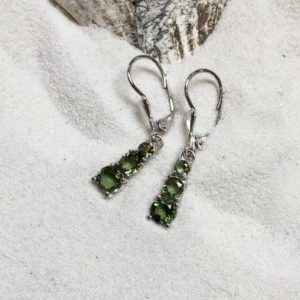 Shop Moldavite Earrings! Stacked! – Miranda Faceted Moldavite Earrings | Natural genuine Moldavite earrings. Buy crystal jewelry, handmade handcrafted artisan jewelry for women.  Unique handmade gift ideas. #jewelry #beadedearrings #beadedjewelry #gift #shopping #handmadejewelry #fashion #style #product #earrings #affiliate #ad
