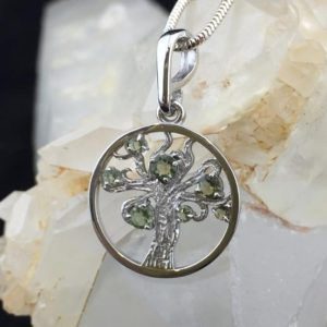 Shop Moldavite Pendants! Tree of Life Pendant with Seven Genuine Faceted Moldavites and Rhodium Plated Sterling Silver | Natural genuine Moldavite pendants. Buy crystal jewelry, handmade handcrafted artisan jewelry for women.  Unique handmade gift ideas. #jewelry #beadedpendants #beadedjewelry #gift #shopping #handmadejewelry #fashion #style #product #pendants #affiliate #ad