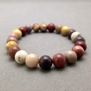 Shop Mookaite Bracelets! Mookaite Jasper Stacking Bead Bracelet With Copper Accent Bead | Natural genuine Mookaite bracelets. Buy crystal jewelry, handmade handcrafted artisan jewelry for women.  Unique handmade gift ideas. #jewelry #beadedbracelets #beadedjewelry #gift #shopping #handmadejewelry #fashion #style #product #bracelets #affiliate #ad