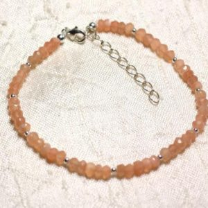 Shop Moonstone Bracelets! Moonstone bracelet 925 sterling silver and stone – pink orange faceted rondelles 3mm | Natural genuine Moonstone bracelets. Buy crystal jewelry, handmade handcrafted artisan jewelry for women.  Unique handmade gift ideas. #jewelry #beadedbracelets #beadedjewelry #gift #shopping #handmadejewelry #fashion #style #product #bracelets #affiliate #ad