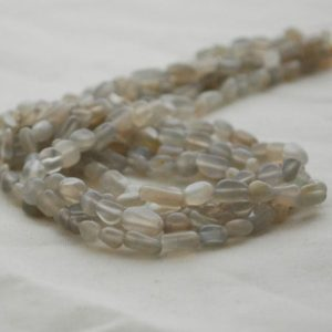 "Shop Moonstone Chip & Nugget Beads! High Quality Grade A Natural Grey Moonstone Semi-Precious Gemstone Tumbled Stone Nugget Pebble Beads – approx 5mm – 8mm – 15.5"" long 
