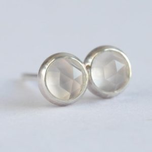 Shop Moonstone Earrings! white moonstone 4mm rose cut sterling silver stud earrings pair | Natural genuine Moonstone earrings. Buy crystal jewelry, handmade handcrafted artisan jewelry for women.  Unique handmade gift ideas. #jewelry #beadedearrings #beadedjewelry #gift #shopping #handmadejewelry #fashion #style #product #earrings #affiliate #ad