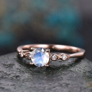 5mm round natural moonstone ring gold vintage moonstone engagement ring 14k rose gold June birthstone art deco wedding women bridal ring | Natural genuine Array jewelry. Buy handcrafted artisan wedding jewelry.  Unique handmade bridal jewelry gift ideas. #jewelry #beadedjewelry #gift #crystaljewelry #shopping #handmadejewelry #wedding #bridal #jewelry #affiliate #ad