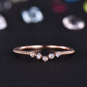 Shop Moonstone Rings! Moonstone Wedding Band Women Curved Ring Rose Gold Stacking Natural Moonstone Matching Band Petite Promise Anniversary Gift For Her Milgrain | Natural genuine Moonstone rings, simple unique alternative gemstone engagement rings. #rings #jewelry #bridal #wedding #jewelryaccessories #engagementrings #weddingideas #affiliate #ad