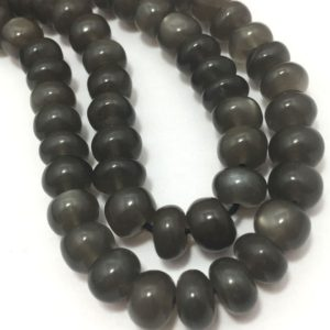 "Shop Moonstone Rondelle Beads! 140 Carat Natural Gray Moonstone Plain Smooth Rondelle 6 To 7 mm 17"" 92.5 Silver Clasp/Semi Precious Beads/Gemstone Beads 