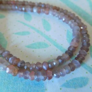 Shop Moonstone Rondelle Beads! Chocolate Gray or Peach MOONSTONE Rondelle Beads – 1/2 Strand, Luxe AAA, 3-4 mm – june birthstone wholesale gemstone beads solo 34 | Natural genuine rondelle Moonstone beads for beading and jewelry making.  #jewelry #beads #beadedjewelry #diyjewelry #jewelrymaking #beadstore #beading #affiliate #ad