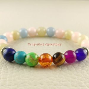 Shop Chakra Bracelets! Morganite Bracelet, 7Chakra Bracelet, Healing for Men & Women, Assurance, Promise, Remove Negativity, Abundance, Gift for Men And Women 3611 | Shop jewelry making and beading supplies, tools & findings for DIY jewelry making and crafts. #jewelrymaking #diyjewelry #jewelrycrafts #jewelrysupplies #beading #affiliate #ad