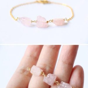 Shop Morganite Bracelets! Morganite bracelet, Gemstone bracelet, raw crystal bracelet, bridesmaid gift, raw quartz bracelet, thin gold bracelet, pink quartz bracelet | Natural genuine Morganite bracelets. Buy crystal jewelry, handmade handcrafted artisan jewelry for women.  Unique handmade gift ideas. #jewelry #beadedbracelets #beadedjewelry #gift #shopping #handmadejewelry #fashion #style #product #bracelets #affiliate #ad