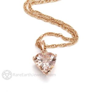 Shop Morganite Necklaces! Morganite Necklace Rose Gold, Morganite Pendant, 14K Rose Gold Heart Necklace, Peach or Pink Gemstone Heart Pendant Bridal Jewelry | Natural genuine Morganite necklaces. Buy handcrafted artisan wedding jewelry.  Unique handmade bridal jewelry gift ideas. #jewelry #beadednecklaces #gift #crystaljewelry #shopping #handmadejewelry #wedding #bridal #necklaces #affiliate #ad