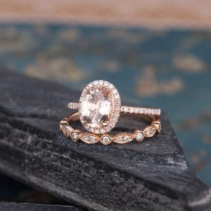 Art Deco Morganite Engagement Ring Rose Gold Bridal Set 2pcs Halo Diamond Oval Cut Eternity Wedding Anniversary Gift For Women Half Eternity | Natural genuine Array rings, simple unique alternative gemstone engagement rings. #rings #jewelry #bridal #wedding #jewelryaccessories #engagementrings #weddingideas #affiliate #ad