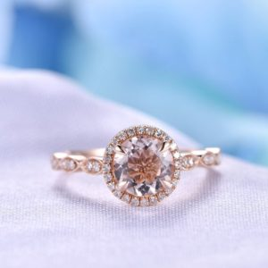 Pink Morganite Engagement Ring 14k Rose Gold 7mm Round Moganite Ring Diamond Wedding Ring Art Deco Antique Promise Ring Anniversary Ring | Natural genuine Array rings, simple unique alternative gemstone engagement rings. #rings #jewelry #bridal #wedding #jewelryaccessories #engagementrings #weddingideas #affiliate #ad