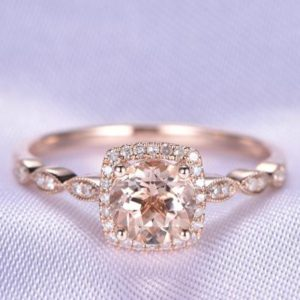 Solid Morganite Engagement Ring 14K Rose Gold Ring 7mm Round Cut Morganite Diamond Cushion Halo Art Deco Wedding Band Quality Ring | Natural genuine Gemstone rings, simple unique alternative gemstone engagement rings. #rings #jewelry #bridal #wedding #jewelryaccessories #engagementrings #weddingideas #affiliate #ad