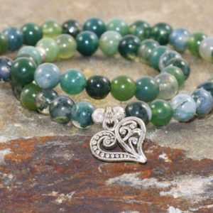 Shop Moss Agate Jewelry! Green Heart Chakra Bracelet Stack, Anahata Jewelry, Moss Agate Bracelet, Wrist Mala Beads, Self Compassion-Letting Go-Healing the Heart | Natural genuine Moss Agate jewelry. Buy crystal jewelry, handmade handcrafted artisan jewelry for women.  Unique handmade gift ideas. #jewelry #beadedjewelry #beadedjewelry #gift #shopping #handmadejewelry #fashion #style #product #jewelry #affiliate #ad
