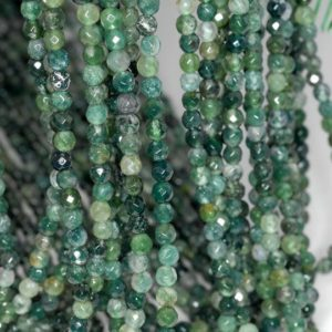 Shop Moss Agate Beads! 4mm Botanical Moss Agate Gemstone Green Faceted Round Loose Beads 15.5 inch Full Strand (90184135-356) | Natural genuine beads Moss Agate beads for beading and jewelry making.  #jewelry #beads #beadedjewelry #diyjewelry #jewelrymaking #beadstore #beading #affiliate #ad