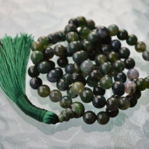 Shop Moss Agate Necklaces! Heart Chakra 8mm Dark Green Moss Agate Mala Beads Necklace Pendant 108 Long Necklace for Women Moss Agate Gemstone Boho Gift for Mom Jewelry | Natural genuine Moss Agate necklaces. Buy crystal jewelry, handmade handcrafted artisan jewelry for women.  Unique handmade gift ideas. #jewelry #beadednecklaces #beadedjewelry #gift #shopping #handmadejewelry #fashion #style #product #necklaces #affiliate #ad