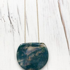 Shop Moss Agate Jewelry! Green Moss Agate Necklace Green Moss Agate Jewelry Geometric Pendant Necklace | Natural genuine Moss Agate jewelry. Buy crystal jewelry, handmade handcrafted artisan jewelry for women.  Unique handmade gift ideas. #jewelry #beadedjewelry #beadedjewelry #gift #shopping #handmadejewelry #fashion #style #product #jewelry #affiliate #ad