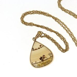 Shop Moss Agate Jewelry! Vintage Moss Agate Pendant, Yellow Gold Dendritic Agate Necklace | Natural genuine Moss Agate jewelry. Buy crystal jewelry, handmade handcrafted artisan jewelry for women.  Unique handmade gift ideas. #jewelry #beadedjewelry #beadedjewelry #gift #shopping #handmadejewelry #fashion #style #product #jewelry #affiliate #ad