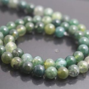 Shop Moss Agate Beads! Moss agate beads,6mm/8mm/10mm/12mm Smooth and Round Agate Beads,15 inches one starand | Natural genuine beads Moss Agate beads for beading and jewelry making.  #jewelry #beads #beadedjewelry #diyjewelry #jewelrymaking #beadstore #beading #affiliate #ad