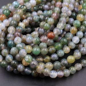 """Shop Moss Agate Beads! Natural Green Flower Moss Agate 6mm 8mm Round Beads High Polish Spheres 15.5"""" Strand 
