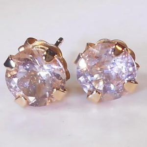 Natural 6mm Pink Champagne Morganite Earrings Stud 14K Gold | Natural genuine Morganite earrings. Buy crystal jewelry, handmade handcrafted artisan jewelry for women.  Unique handmade gift ideas. #jewelry #beadedearrings #beadedjewelry #gift #shopping #handmadejewelry #fashion #style #product #earrings #affiliate #ad