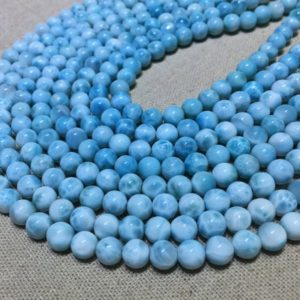 Natural Blue Larimar Round Beads Healing Energy Gemstone Loose Beads DIY Jewelry Making Design for Bracelet AAAA Quality 6mm 8mm 10mm 12mm | Natural genuine round Larimar beads for beading and jewelry making.  #jewelry #beads #beadedjewelry #diyjewelry #jewelrymaking #beadstore #beading #affiliate #ad