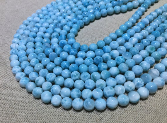 Natural Blue Color Larimar Round Healing & Energy Gemstone Loose Beads For Bracelet Necklace Jewelry Design Aaaa Quality 6mm 8mm 10mm 12mm