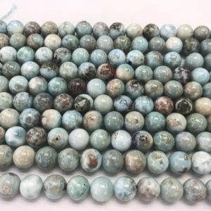 Shop Larimar Round Beads! Natural Blue Larimar 10mm Round Genuine Gemstone Grade AB Loose Beads 15 inch Jewelry Supply Bracelet Necklace Material Support Wholesale | Natural genuine round Larimar beads for beading and jewelry making.  #jewelry #beads #beadedjewelry #diyjewelry #jewelrymaking #beadstore #beading #affiliate #ad
