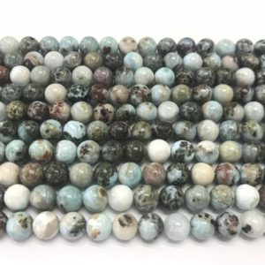 Shop Larimar Round Beads! Natural Blue Larimar 8mm Round Genuine Gemstone Grade B Loose Beads 15 inch Jewelry Supply Bracelet Necklace Material Support Wholesale | Natural genuine round Larimar beads for beading and jewelry making.  #jewelry #beads #beadedjewelry #diyjewelry #jewelrymaking #beadstore #beading #affiliate #ad