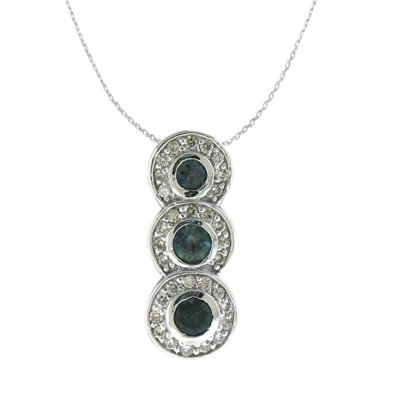 Natural Color Change Alexandrite Diamond Necklace Pendant In 14k White Gold With Certificate!! Free Shipping In The Usa