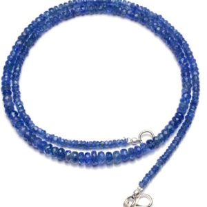 "Shop Sapphire Rondelle Beads! Natural Gemstone Myanmar Blue Sapphire 3 to 5MM Size Faceted Rondelle Beads Necklace 18"" Full Strand Sapphire Beads Super Fine Quality 