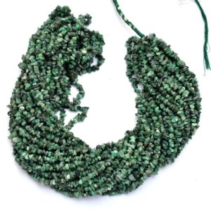 "Shop Emerald Chip & Nugget Beads! Natural Green Emerald Gemstone Uncut Chips 4mm-5mm Beads | 34"" Strand 