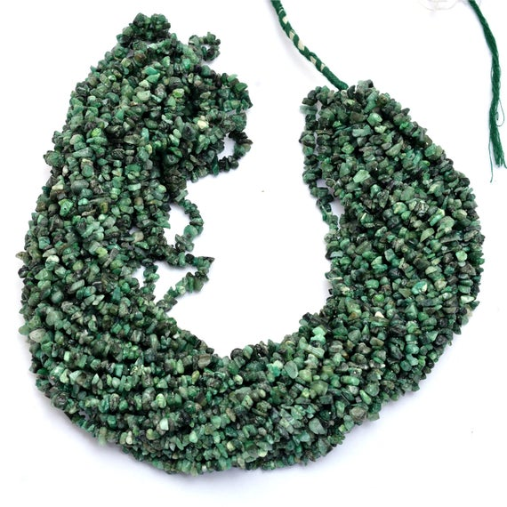 """Natural Green Emerald Gemstone Uncut Chips 4mm-5mm Beads 