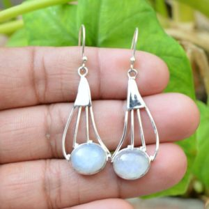 Shop Rainbow Moonstone Earrings! Natural Moonstone Earrings, Women Earrings, Silver Earrings, 10×12 mm Oval Moonstone Earrings, Gemstone Earrings, Rainbow Moonstone Earrings | Natural genuine Rainbow Moonstone earrings. Buy crystal jewelry, handmade handcrafted artisan jewelry for women.  Unique handmade gift ideas. #jewelry #beadedearrings #beadedjewelry #gift #shopping #handmadejewelry #fashion #style #product #earrings #affiliate #ad