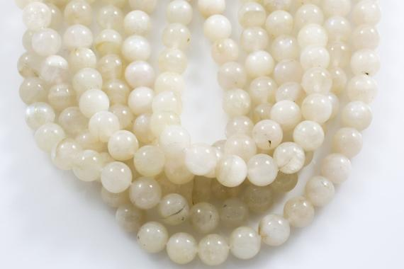 Natural Rainbow Moonstone Milky White  Round Beads. Full Strand, 6mm, 8mm, Or 10mm.  Smooth Gemstone Beads