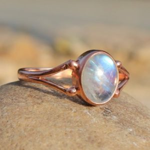 Shop Rainbow Moonstone Rings! Natural Rainbow Moonstone Ring – 925 Sterling Silver  Ring – Rose Gold Ring – June Birthstone Ring – Moonstone Jewelry – Oval Moonstone Ring | Natural genuine Rainbow Moonstone rings, simple unique handcrafted gemstone rings. #rings #jewelry #shopping #gift #handmade #fashion #style #affiliate #ad