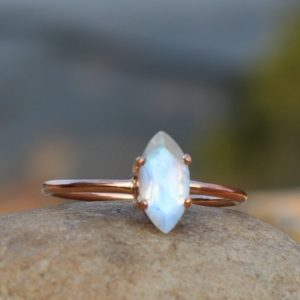 Shop Rainbow Moonstone Rings! Natural Rainbow Moonstone Ring – 925 Silver Ring – White Rainbow Moonstone Ring – June Birthstone – Faceted Moonstone Ring – Rose Gold Ring | Natural genuine Rainbow Moonstone rings, simple unique handcrafted gemstone rings. #rings #jewelry #shopping #gift #handmade #fashion #style #affiliate #ad