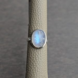 Natural Rainbow Moonstone Ring-Blue Fire Moonstone Ring-Handmade Silver Ring-925 Sterling Silver-Gift for her-Promise Ring-Anniversary Ring | Natural genuine Rainbow Moonstone jewelry. Buy crystal jewelry, handmade handcrafted artisan jewelry for women.  Unique handmade gift ideas. #jewelry #beadedjewelry #beadedjewelry #gift #shopping #handmadejewelry #fashion #style #product #jewelry #affiliate #ad